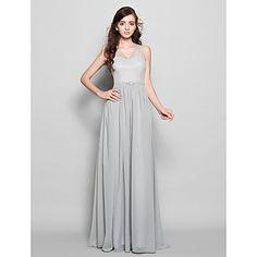 Floor-length+Chiffon+Bridesmaid+Dress+-+Silver+Plus+Sizes+/+Petite+Sheath/Column+V-neck+–+USD+$+80.99