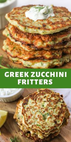 greek food These Greek zucchini fritters are a quick, easy and healthy weeknight dinner option. Made with feta and dill, theyre crispy on the outside and tender (but not soggy) on the inside. Veggie Dishes, Vegetable Recipes, Food Dishes, Vegetarian Recipes, Cooking Recipes, Healthy Recipes, Healthy Food, Recipes With Feta, Vegetarian Kids