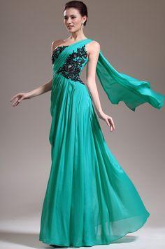 4482d4e267ea Best Sales 2014 New Arrival Elegant A Line One Shoulder Chiffon Green  Evening Dresses Online  139.79