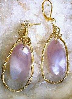 Lavender Agate Drop Earrings with Hand hammered Brass Loop Frames by Maeve