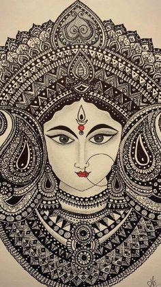 Mandala Art Therapy, Mandala Art Lesson, Mandala Artwork, Easy Mandala Drawing, Mandala Sketch, Mandala Painting, Art Drawings Beautiful, Art Drawings Sketches Simple, Durga Painting