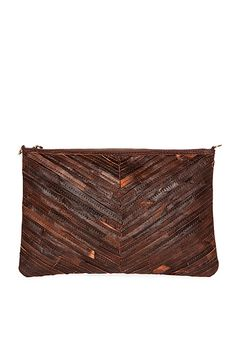 Stitched Strip Leather Clutch / iPad Case in Brown | DAILYLOOK