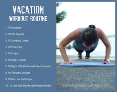 It's challenging to stay in shape on vacation! This is a 20 minute vacation workout routine you can do anywhere! No equipment required!! #fitness #travel #musingsofahousewife http://www.musingsofahousewife.com/vacation-workout-routine.html