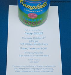 Soup Swap Party - fun Fall idea!