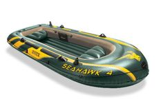 Intex Seahawk 4, 4-Person Inflatable Boat Set with Aluminum Oars and High Output Air Pump 68351