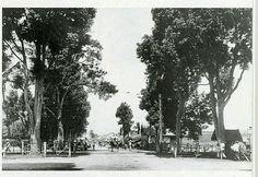 Sebuah jalan di Bandoeng tahun 1910 dengan latar depan pelintasan rel kereta-api.