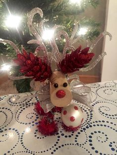 Adorable Silver and Red Wine Cork Reindeer by ReindeerLove on Etsy