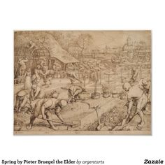 Spring by Pieter Bruegel the Elder, 1565, pen and ink drawing