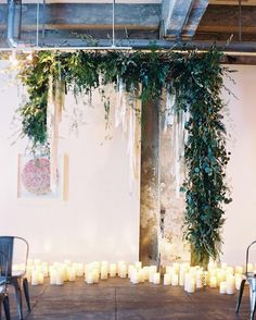 Ceremony Installation, Greenery & Candles | Photo: Lisa Ziesing for Abby Jiu Photography.