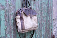 """Buisness bag """"Robin""""  Ein Canvas Ledermix der besonderen Art. Leather Backpack, Fashion Backpack, Robin, Clutches, Backpacks, Bags, Dime Bags, Leather, Handbags"""