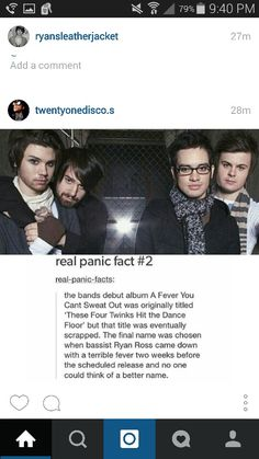 Fun fact about P!ATD<<< cool fact, but Ryan isn't the bassist, at this time it was Jon