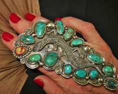 CHAVEZ+AMAZING+BIG+LIZARD+TURQUOISE+RING,+Sterling+Silver,73+grams,+sz+7.5+