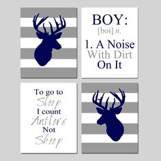 Baby Boy Nursery Art - Stripe Deer - To Go To Sleep I Count Antlers Not Sheep Quote - BOY Definition - Set of Four 11x14 Prints by Tessyla on Etsy https://www.etsy.com/listing/185081011/baby-boy-nursery-art-stripe-deer-to-go