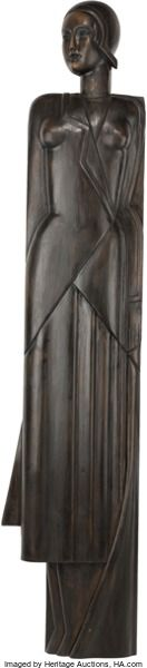 Decorative Arts, French:Other , A French Art Deco Carved Wood Life-Size Panel of a Woman, circa1930. 74 inches high x 15-1/4 inches widest (188.0 x 38.7 cm...