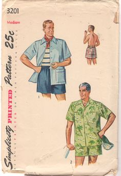 Simplicity 3201 1950s Mens Beach Shirt and Swim Shorts  vintage sewing pattern by mbchills
