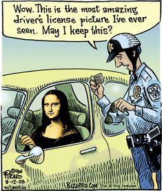 """Mona's drivers license...     - """"Bizarro"""" by Dan Piraro;  9/12/03"""