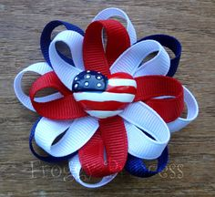 4th Of July Hair Flower Bow. $4.00, via Etsy.