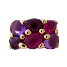 Pomellato Sassi Garnet Amethyst Rhodolite Gold Ring | From a unique collection of vintage more rings at http://www.1stdibs.com/jewelry/rings/more-rings/