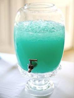 Ocean Punch - mix I pkg Blue Raspberry unsweetened kool-aid powder, 3/4 cups sugar, 2 quarts water, 10 oz Pina Colada Mix,  2 liters of sprite?