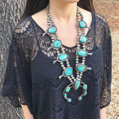 EXTRA LARGE NAVAJO STERLING SILVER & ROYSTON TURQUOISE SQUASH BLOSSOM NECKLACE