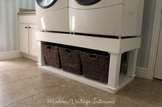 Really like the look of the washer/dryer stand with baskets - very functional without a lot of $$$.