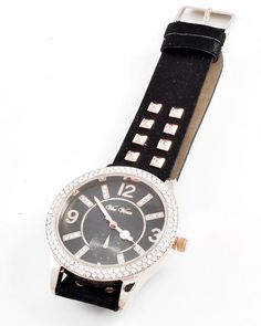 Rose Gold Tone / Black / Clear Rhinestone / Stainless Steel Back Water Resistant / Band Style / Buckle Closure Watch