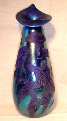 Splendid Rare Art Glass Vase by Samuel Sturgeon, Shop Rubylane.com