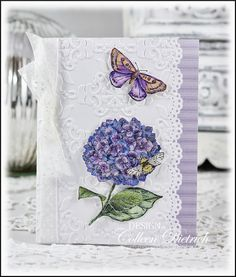 Insects & Hydrangea:  Dietrich Designs All occasion card using Stampin' Up! 'Because I Care' hydrangea, SU moth/butterfly, and Pink Paislee Queen Bee bee stamps.