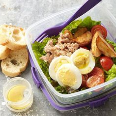Fast Nicoise Salad Go ahead. Indulge in forkfuls of lemony tuna, juicy tomatoes, browned potato wedges, and hard-cooked egg -- all for less than 250 calories.