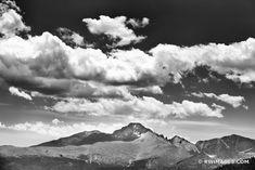 LONGS PEAK ROCKY MOUNTAIN NATIONAL PARK COLORADO BLACK AND WHITE