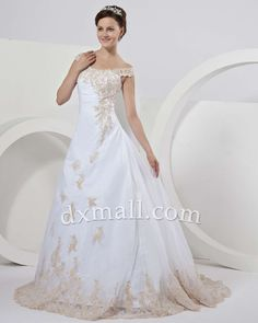 A-line Wedding Dresses Straps Court Train Organza Satin White 010010100477