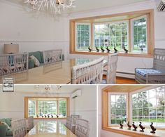 An extraordinary dining room where we installed this large bay window comprised of two casements and a picture window with grilles   . . . . . . .   Home Improvements / Renovations / Remodeling / Bay Window from Renewal by Andersen Long Island