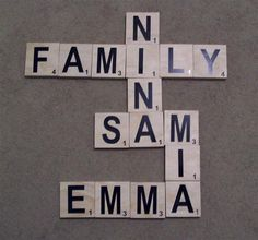 """scrabble tiles wall decor- maybe instead of """"Family"""" you could spell out your last name. This would look nice in a frame on the wall."""