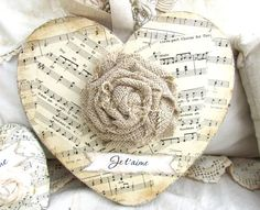 music paper and fabric flower Valentine Crafts, Be My Valentine, Christmas Crafts, Christmas Music, Valentine Decorations, Christmas Balls, Christmas Tree, Vintage Heart, Shabby Vintage