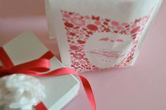 """I'm really hoping someone notices how much I love this whole """"print on a goodie bag"""" notion and actually gives me one filled with chocolate chip cookies.  I love how romantic the design is on this one by Twig and Thistle."""