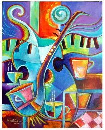 "Jazz Cafe 20"" x 16"" Acrylic on stretched  canvas by Martina Vera #watercolorarts"