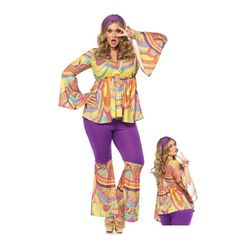 Women's Plus Size Purple Haze Hippie Costume - Candy Apple Costumes - See All Plus Size Costumes Costume Sexy, Sexy Halloween Costumes, Halloween Fancy Dress, Girl Costumes, Adult Costumes, Costumes For Women, Costume Ideas, Purple Haze, 70s Outfits