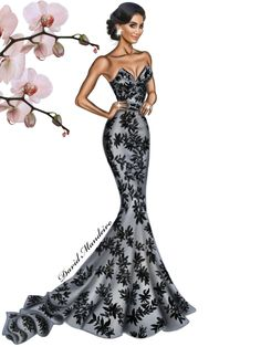 yassighalichi wearing a Walter Collection beautiful dress. ‪#‎digitaldrawing‬ by David Mandeiro Illustrations ‪