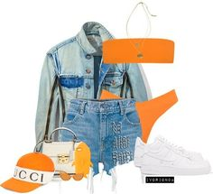A fashion look from July 2017 featuring jean jacket, denim shorts and tankini tops. Browse and shop related looks. Swag Outfits, Outfits For Teens, Trendy Outfits, Summer Outfits, Girl Outfits, Fashion Outfits, Fashion Tips, Polyvore Outfits, Love Fashion