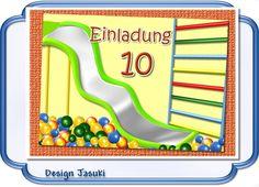 Einladungskarte Kindergeburtstag Indoorspielplatz von Jasuki auf DaWanda.com