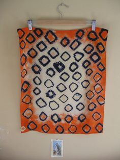 Indigo Rings and Tangerine Trim Habotai Silk Scarf by AliBabalu,