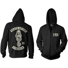 Death Eater Hoodie (€39) ❤ liked on Polyvore featuring tops, hoodies, hooded sweatshirt, hooded zipper sweatshirts, sweatshirt hoodies, hoodie top and cotton hooded sweatshirt