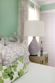 Furbish Studio, fig leaf fabric, purple ikat, mixed patterns bedding, green bedroom walls paint, paisley fabric, purple lamp, calming bedroom palette