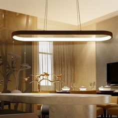 Details About Modern Oval LED Dining Room Kitchen White Pendant Chandelier  Lighting Lamp