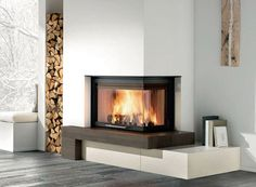 Modern Fireplace - love the asymmetry