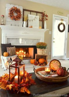 Rust-colored Fall Fireplace Decor Idea - 14 Cozy Fall Fireplace Decor Ideas to S. - Rust-colored Fall Fireplace Decor Idea – 14 Cozy Fall Fireplace Decor Ideas to Steal Right Now - Fall Living Room, Living Room Decor, Decor Room, Living Rooms, Fall Fireplace Decor, Fireplace Ideas, Halloween Fireplace, Fall Decor For Mantel, Faux Fireplace