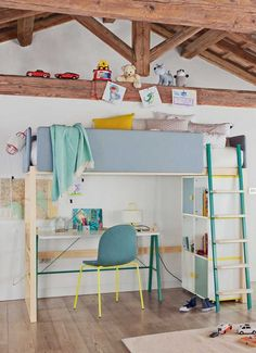 Loft spruce bed for kids' bedroom SOFTLY   Loft bed - DOTANDCROSS™