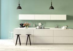 Idee für die Wandgestaltung der Küche in Mint.