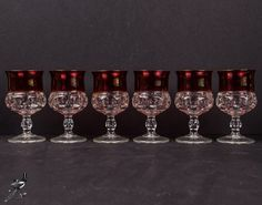6 Water Goblets Tiffin Franciscan King's / Kings Crown Cranberry Flash Ruby Mid Century Pink Glass Thumbprint Medieval Game of Thrones! by TheCordialMagpie from Etsy. Find it now at http://ift.tt/2kNOmXf!