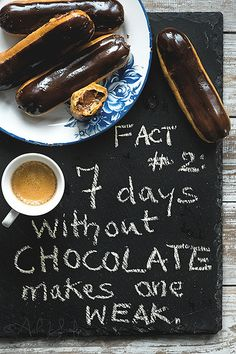 Chocolate Eclairs and Coffee